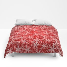 Snowflakes pattern on red background Comforters