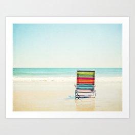 Beach Chair Photography, Colorful Coastal Ocean Landscape Art Print
