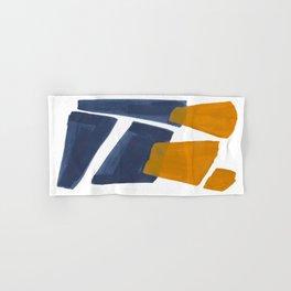 Colorful Minimalist Mid Century Modern Shapes Navy Blue Yellow Ochre Sharp Shapes Hand & Bath Towel