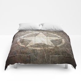 Army Star on Distressed Riveted Metal Door Comforters