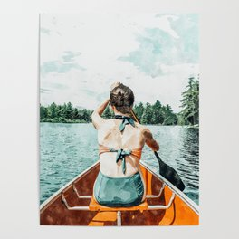 Row Your Own Boat #illustration #decor #painting Poster