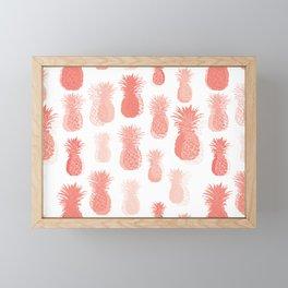 Pineapple partytime in living coral Framed Mini Art Print