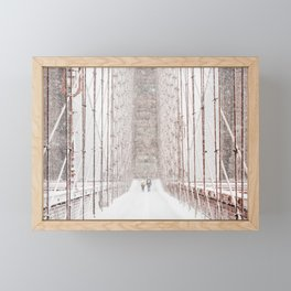 Brooklyn Bridge Snow Framed Mini Art Print