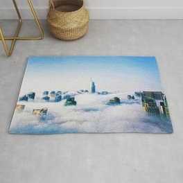 Dubai skyline topped in morning clouds landscape Rug