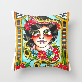 Lady and snake Throw Pillow