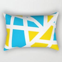Abstract Interstate  Roadways Aqua Blue & Yellow Color Rectangular Pillow