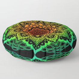 Mushroom Love Rainbow Mandala Floor Pillow