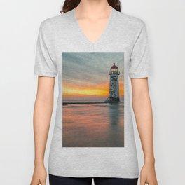 Talacre Lighthouse Sunset Wales Unisex V-Neck