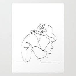 Couple continuous line draw Art Print