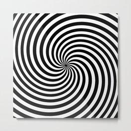 Black And White Op Art Spiral Metal Print