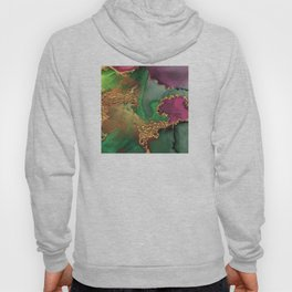 Trendy Glitter Gold, Green, and Pink Paint Texture Hoody