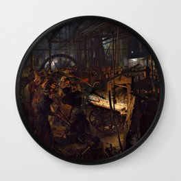 Adolph Menzel - The Iron Rolling Mil - Digital Remastered Edition Wall Clock
