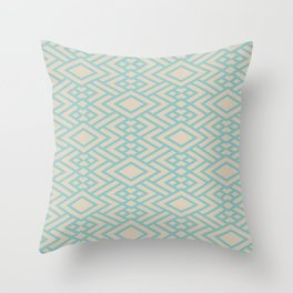 Pastel Teal and Beige Art Deco Line Pattern 2021 Color of the Year Aqua Fiesta and Sourdough Throw Pillow