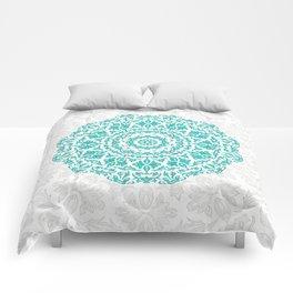 Bohemian Glittering Floral Mandala Aquamarine Comforters