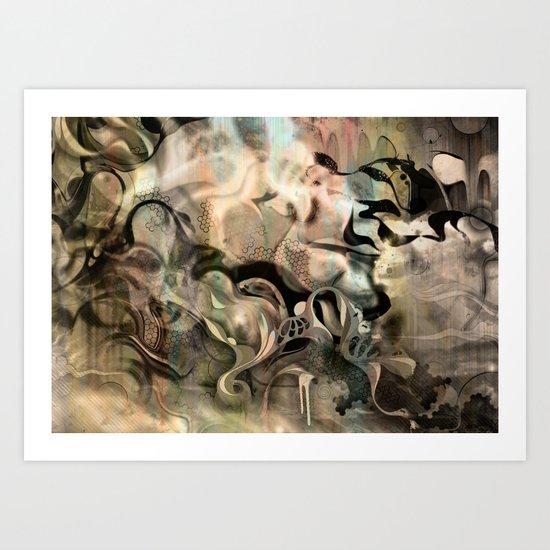 Fluidity Noir Art Print