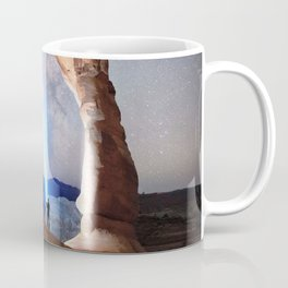 Starry Night Pointer at Milky Way Night sky in Moab Arches National Park  Utah USA  Coffee Mug