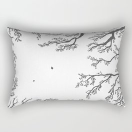 tree branches with birds and leaves on a light background Rectangular Pillow
