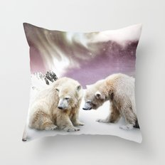 Polar Bears and Penguin Throw Pillow