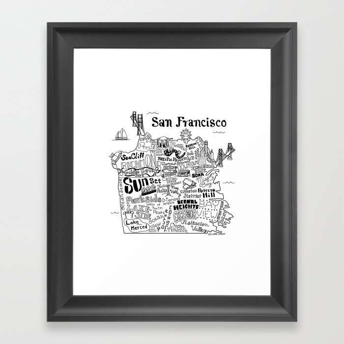 San Francisco Map Illustration Gerahmter Kunstdruck
