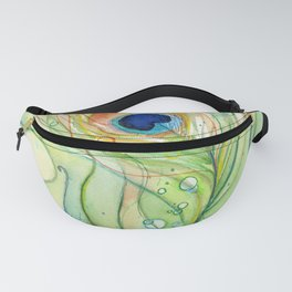 Peacock Feather Green Texture and Bubbles Fanny Pack