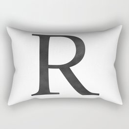 Letter R Initial Monogram Black and White Rectangular Pillow