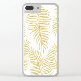 Fern Pattern Gold Clear iPhone Case