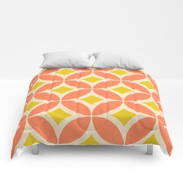 Retro Mid-century Flower Pattern in Coral and Yellow Comforters