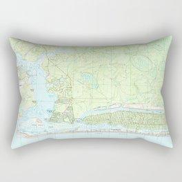 Oak Island North Carolina Map (1990) Rectangular Pillow