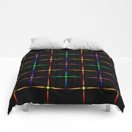Neon diamonds. Pattern or background of multicolored neon stars on a black background Comforters