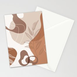 Abstract - Terracotta, Tan and Beige Shapes, Lines and Leaves Stationery Cards