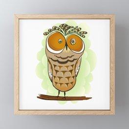 Crazy Owl Framed Mini Art Print