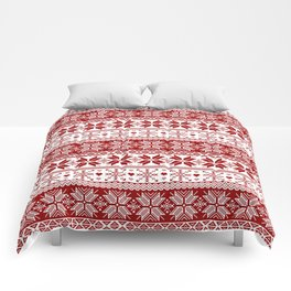 Red Winter Fair Isle Pattern Comforters