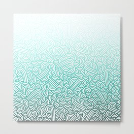 Gradient turquoise blue and white swirls doodles Metal Print