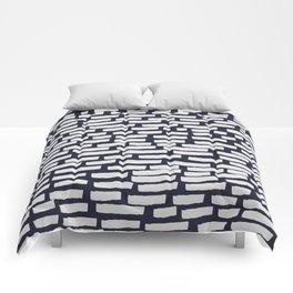 Light Grey Strokes on Dark Blue Comforters
