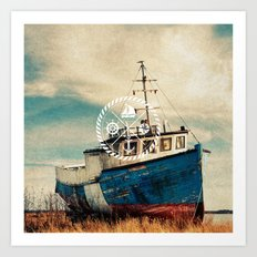Blue Brown Vintage Nautical Anchor Sailing Boat Art Print