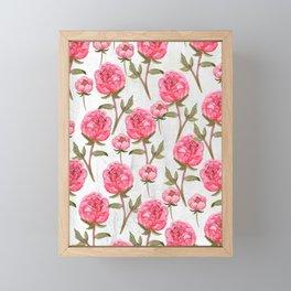 Pink Peonies On White Chalkboard Framed Mini Art Print