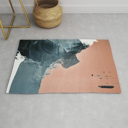 Renew: a minimal abstract piece in coral and blue by Alyssa Hamilton Art Rug
