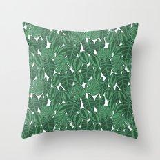 Botanical tropical pattern leaves painting watercolor free spirit boho modern pattern garden house Throw Pillow