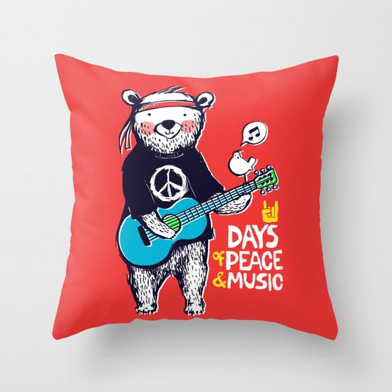 Days Of Peace & Music Throw Pillow