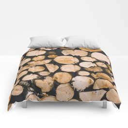 Stacked Wooden Lumber Logs Outdoors Comforters