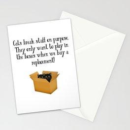 Cats Break Stuff On Purpose - Funny Cute Kitty Illustration Stationery Cards