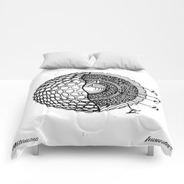 Golf Ball Patent - Golfer Art - Black And White Comforters