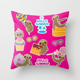 Hello Summer bright tropical patches stickers. Kawaii cute sloth collection Throw Pillow