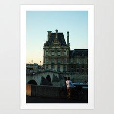 Women with Bike, staring into Seine River Art Print
