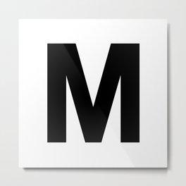 Letter M (Black & White) Metal Print