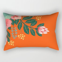 Orange accent pillow with tropical flowers Rectangular Pillow