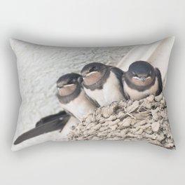 Swallow nestlings sitting in nest Rectangular Pillow