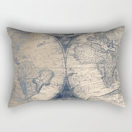 Antique World Map White Gold Navy Blue by Nature Magick Rectangular Pillow