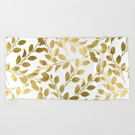 Gold Leaves on White Beach Towel