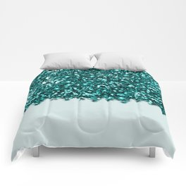 Sparkly Glam Teal Glitter Gradient Collection Comforters